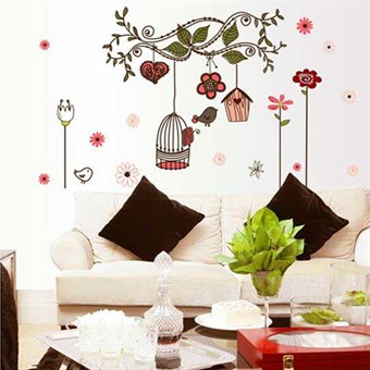 Image of   TipTop Wallstickers Cute Birdcage & Flowers Pattern