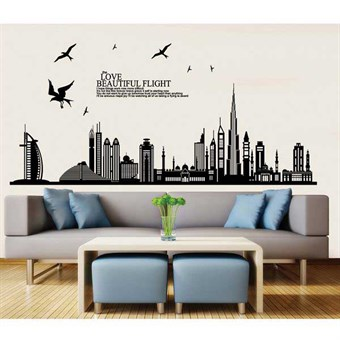 Image of   TipTop Wallstickers Building & Birds Pattern