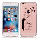 Simpel transperents iPhone 6 / 6S silicone cover Black Feather