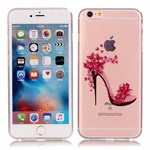 Simpel transperents iPhone 6 / 6S silicone cover Flower And High-heeled Shoes