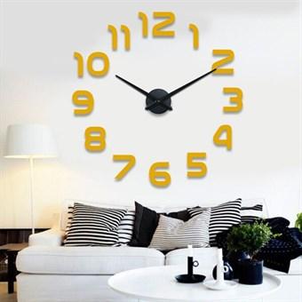 Image of   Luxus moderne store 120x120cm selvklæbende vægur klassisk design guld