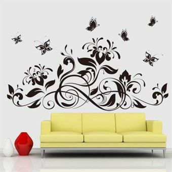 Image of   Wall Stickers - Blomster & Sommerfugle