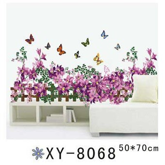 Image of   TipTop Wallstickers Butterflies and Flowers on the Fence