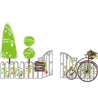Image of   TipTop Wallstickers Cartoon Tree and Fence