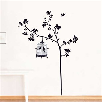 Image of   TipTop Wallstickers Black Tree & Birdcage Pattern