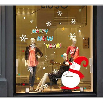 Image of   TipTop Wallstickers ABQ9801 Bling Christmas Style Christmas Snowman Pattern Removable PVC Decals Room