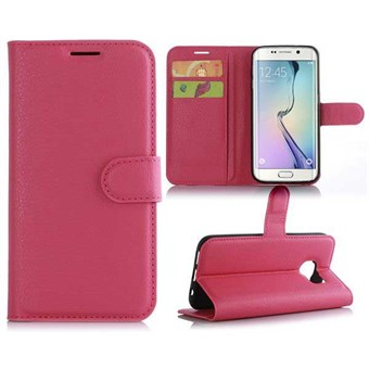 Image of   Klassisk kreditkort etui Galaxy S7 Edge cover (rose red)