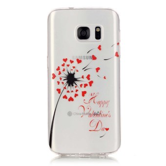 Image of   Stylish transparent Samsung Galaxy S7 Edge silikone cover Heart Dandelion