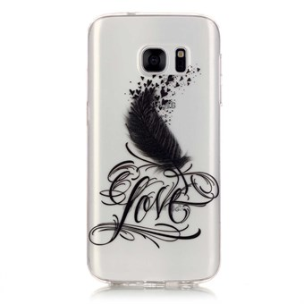 Image of   Stylish transparent Samsung Galaxy S7 Edge silikone cover Black LOVE Feather