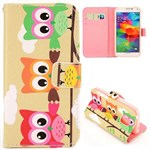 Fashion læder cover S5 Mini Three Cute Owls