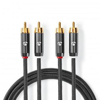 Stereolydkabel   2x RCA-hanstik - 2 x RCA-hanstik   Metalgrå   Skærmet kabel