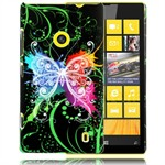 Motiv Plastik Cover Lumia 520 (Neon Butterfly)