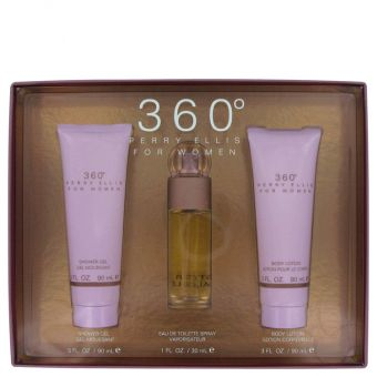 Image of   perry ellis 360 by Perry Ellis - Gift Set Eau De Toilette Spray + Body Lotion Shower Gel - til kvinder
