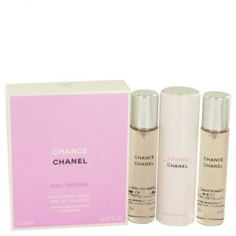 Image of   Chance Eau Tendre by Chanel - Mini Eau De Toilette Spray + 2 Refills 3 x .3 x 21 ml - til kvinder