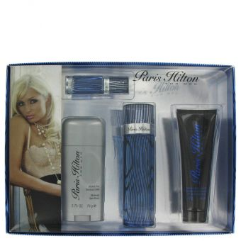 Image of   Paris Hilton by Paris Hilton - Gift Set Eau De Toilette Spray + Body Wash + Deodorant Stick + .25 Mini EDT Spray - til mænd
