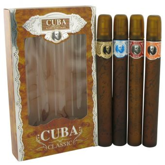 Image of   Cuba Gold by Fragluxe - Gift Set Cuba Variety Set includes All Four Sprays, Cuba Red, Cuba Blue, Cuba Gold and Cuba Orange - til mænd
