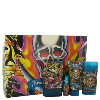 Image of   Ed Hardy Hearts & Daggers by Christian Audigier - Gift Set Eau De Toilette Spray + Shower Gel + Deodorant Stick + . Mini EDT Spray - til mænd