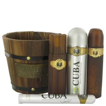 Image of   Cuba Gold by Fragluxe - Gift Set Eau De Toilette Spray + Eau De Toilette Spray + Body Spray + After Shave - til mænd