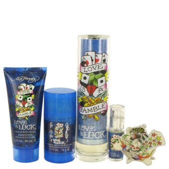 Image of   Love & Luck by Christian Audigier - Gift Set Eau De Toilette Spray + Hair & Body Wash + Deodorant Stick + . Mini EDT Spray + Tatoo Design Key Chain - til mænd