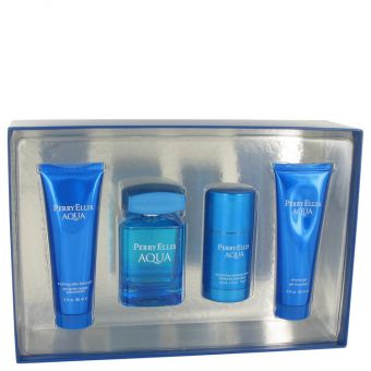 Image of   Perry Ellis Aqua by Perry Ellis - Gift Set Eau De Toilette Spray + Deodorant Stick + After Shave Gel + Shower Gel - til mænd