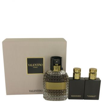 Image of   Valentino Uomo by Valentino - Gift Set Eau De Toilette Spray + Shower Gel + After Shave Balm - til mænd