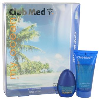 Image of   Club Med My Ocean by Coty - Gift Set . Mini EDT Spray + Hair & Body Wash - til mænd
