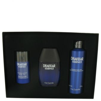 Image of   Drakkar Essence by Guy Laroche - Gift Set Eau De Toilette Spray + Body Spray + Deodorant Stick - til mænd