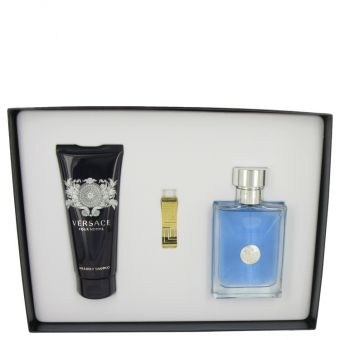 Image of   Versace Pour Homme by Versace - Gift Set Eau De Toilette Spray + 3.4 Hair & Body Shampoo + Gold Versace Money Clip - til mænd