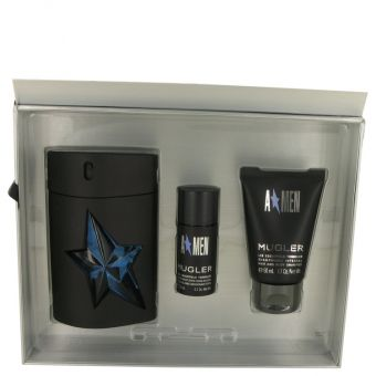 Image of   ANGEL by Thierry Mugler - Gift Set Eau De Toilette Spray Refillable ( Rubber Bottle) + Hair & Body Shampoo + . Deodorant Stick (Alcohol Free) - til mænd