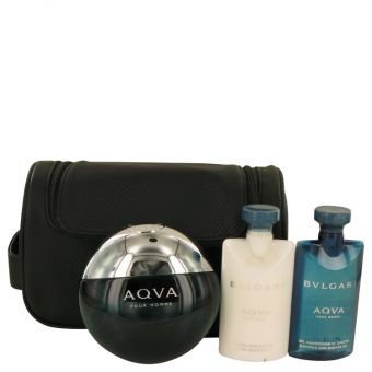 Image of   AQUA POUR HOMME by Bvlgari - Gift Set Eau De Toilette Spray + After Shave Balm + Shower Gel + Pouch - til mænd