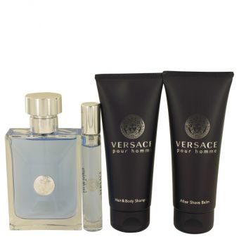 Image of   Versace Pour Homme by Versace - Gift Set Eau De Toilette Spray + Mini EDT Spray + After Shave Balm + Hair & Body Shampoo - til mænd